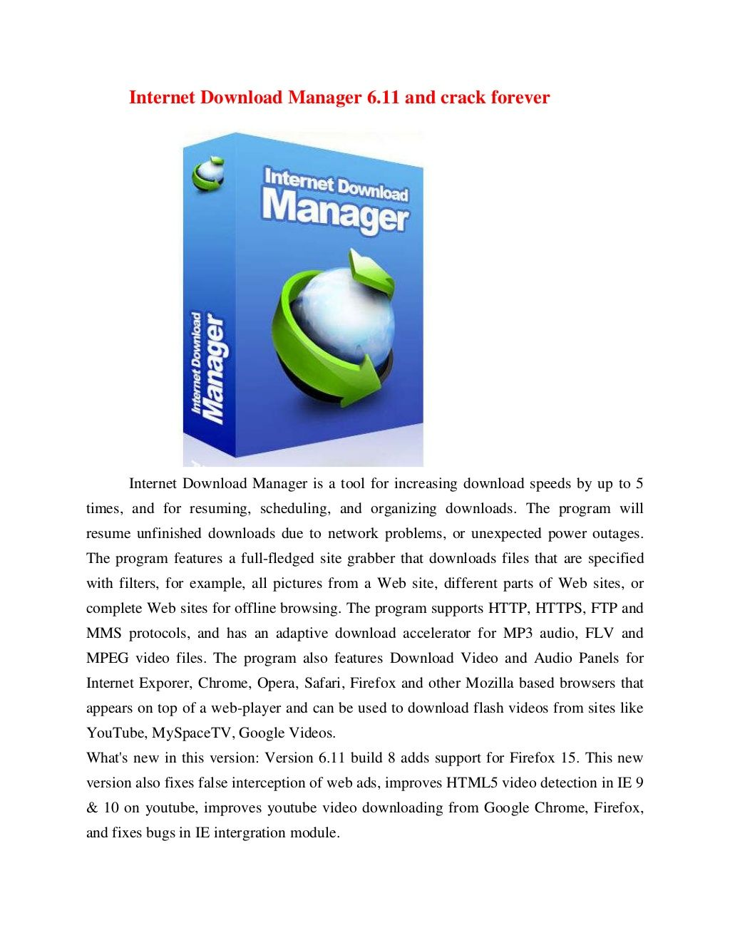 Internet Download Manager 611 And Crack Forever By Vodoi1203 Via
