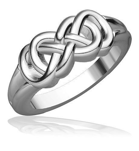 Thick and Heavy Double Infinity Ring in Sterling Silver Sziro