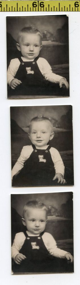 (3) Vintage 1930's BOOTH photos / Toddler with Puppy DOG Patch on Top PHOTOBOOTH