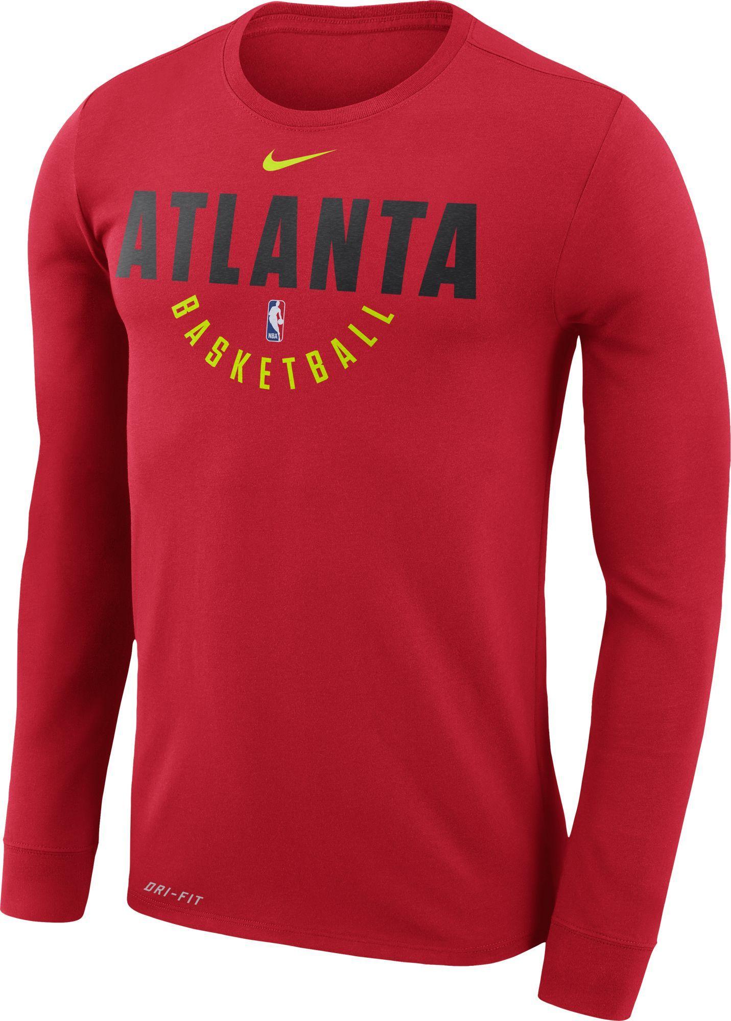 6f31c670f07 Nike Men s Atlanta Hawks Dri-FIT Red Practice Long Sleeve Shirt ...