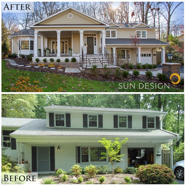 Transforming This Split Level Home Gave The Owners A More Personal Greeting Space Inside Their Exterior House Renovation Home Exterior Makeover House Makeovers