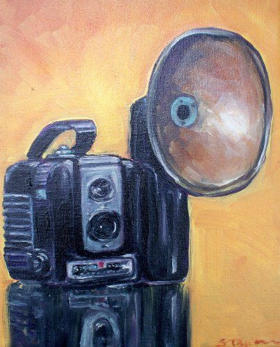 Flashback  My first camera was a Brownie. My neighbor has a vintage camera collection and I just had to paint this one. I love hearing the flashbulb snap and crackle when you took a photo.  http://www.finelifeart.com/flashback-2/