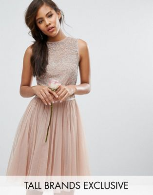 4afcbd78513 Maya Tall Sleeveless Sequin Top Midi Dress With Tulle Skirt And Bow Back  Detail