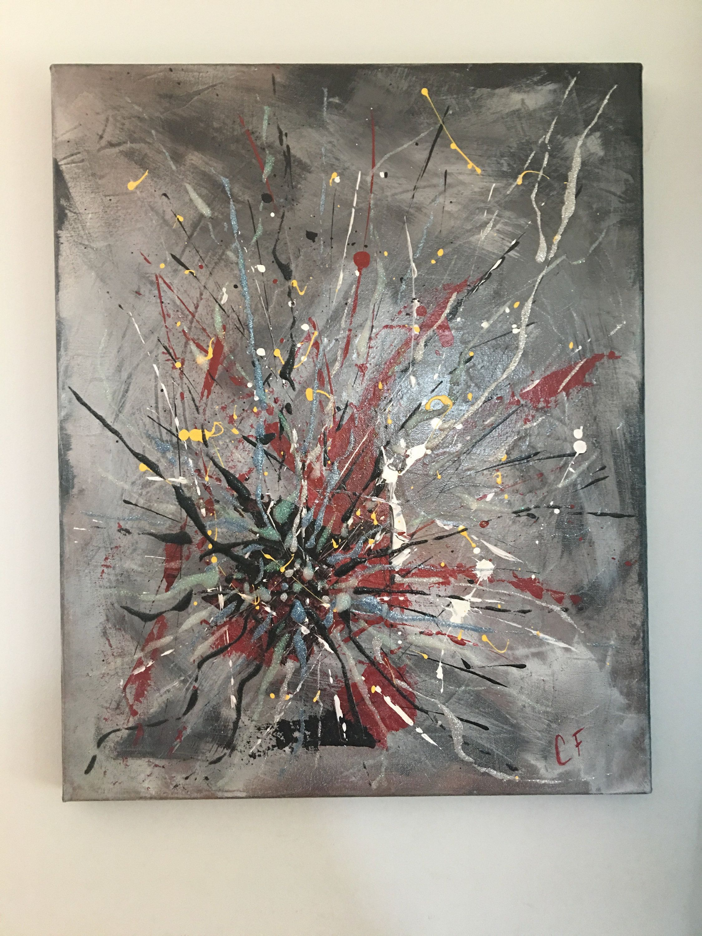 Mixted Media Painting On Canvas Acrylic And Glitter 16X20