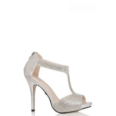 2db1f46f5a3 Quiz Silver Diamante T-Bar Sandals   Debenhams   sandals and bags ...