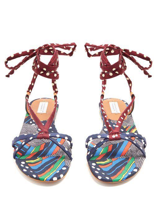 GABRIELA HEARST Reeves graphic-print wraparound sandals Marketable Cheap Online THzCwz