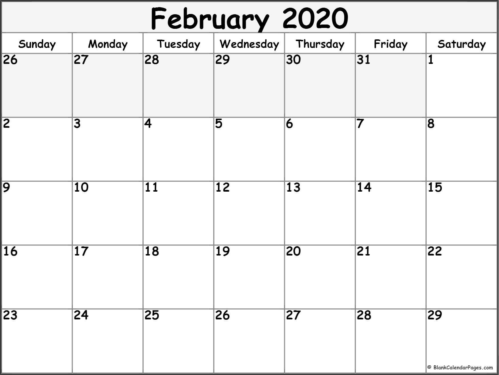 Remarkable 2020 Calendar February Month in 2020   Blank ...