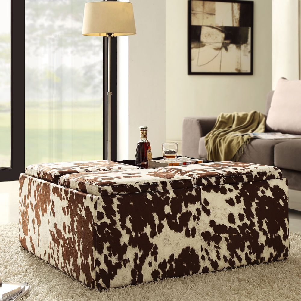 Brown White Cow Hide Storage Ottoman Bench Footstool Home Furniture Fabric Storage Ottoman Cowhide Ottoman Ottoman In Living Room [ 1000 x 1000 Pixel ]