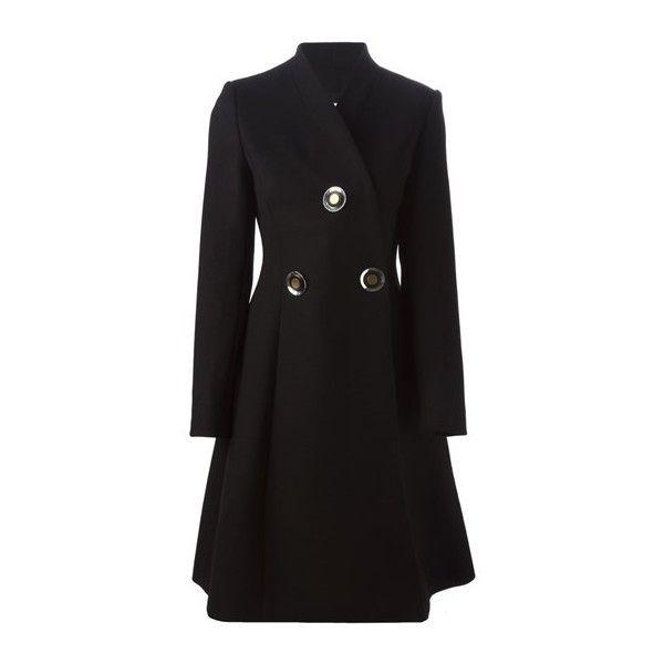 STELLA MC CARTNEY V-Neck Coat ($1,093) ❤ liked on Polyvore featuring outerwear, coats, black, long sleeve coat, pleated coat, stella mccartney and stella mccartney coat
