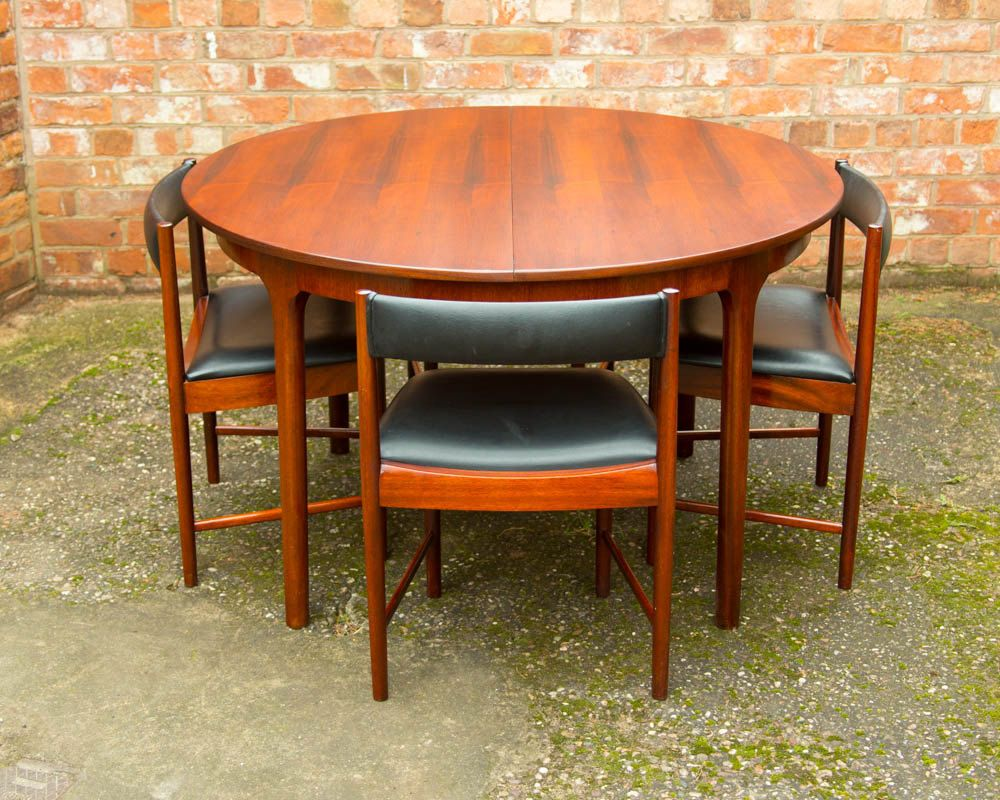 Rosewood Retro Dining Table & 4 Chairs By McIntosh Vintage 1960 S