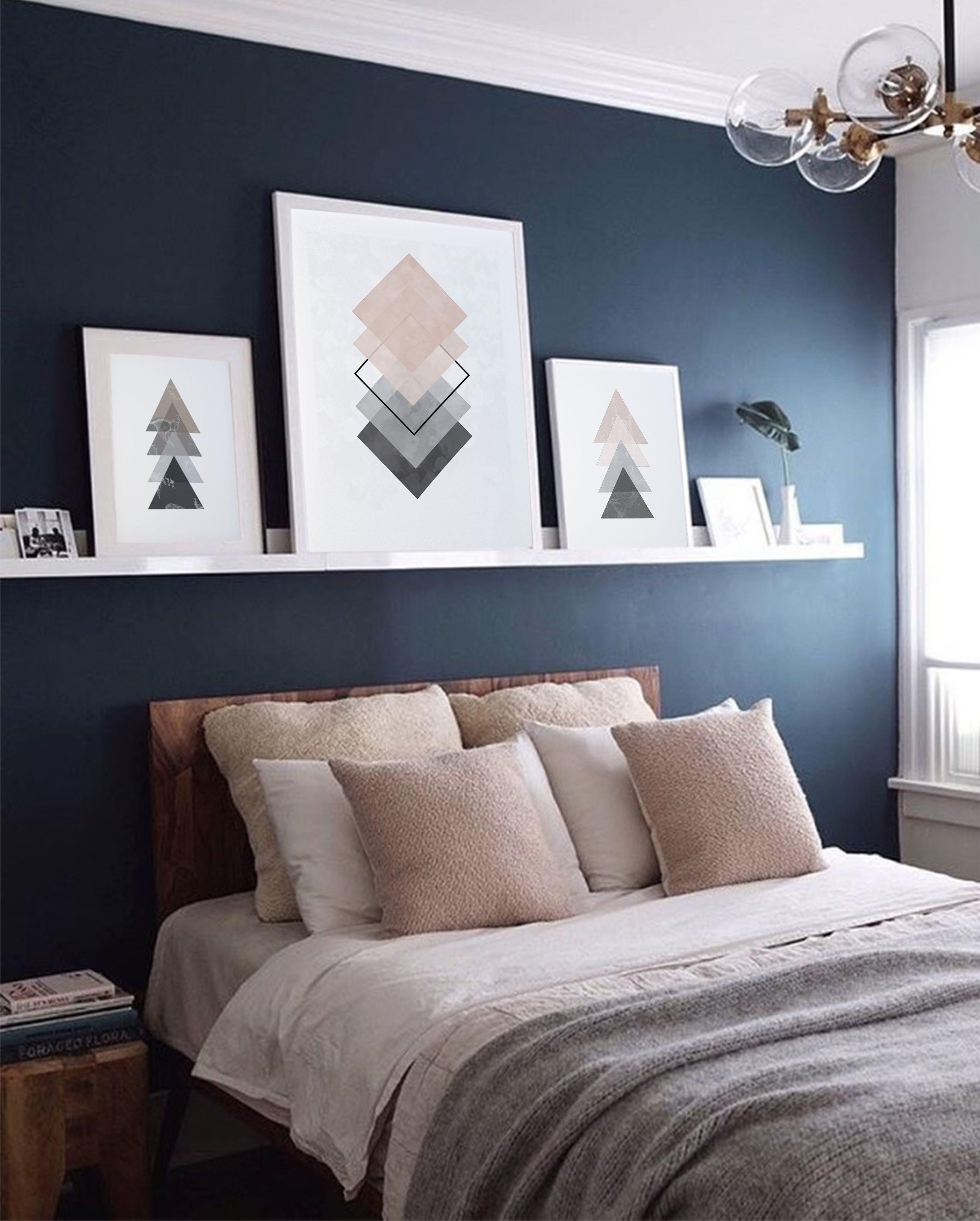 Pink Grey Geometric Art Print Geometry Art Minimalism Art Abstract Poster Set Of Three Prints Set 3 Prints Bedroom Wall Art Above Bed Blue Accent Walls Accent Wall Bedroom Accent Wall Paint Colors Minimalist blue room paint