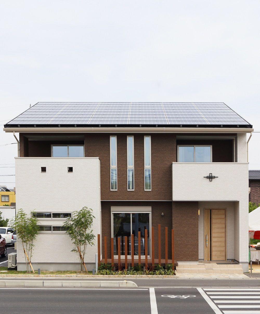 ヘルシーホーム 倉敷モデルハウス 白色 茶色で目を引くデザインに