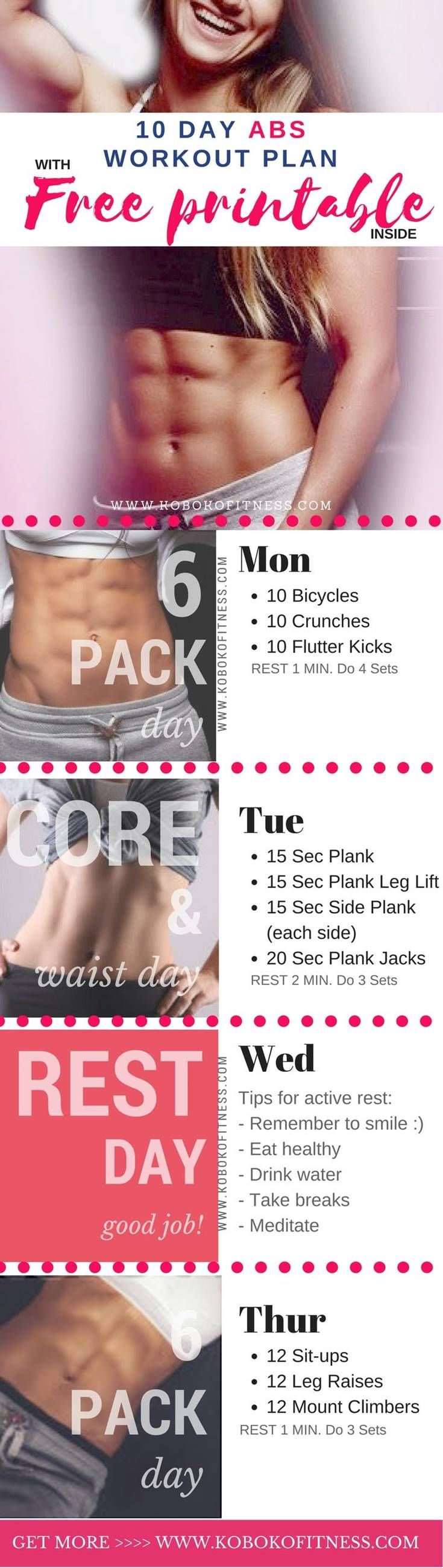 Get this ab workout plan to help get rid of belly fat and get toned abs at home. Extra free ab workout tips and advice you can use fast