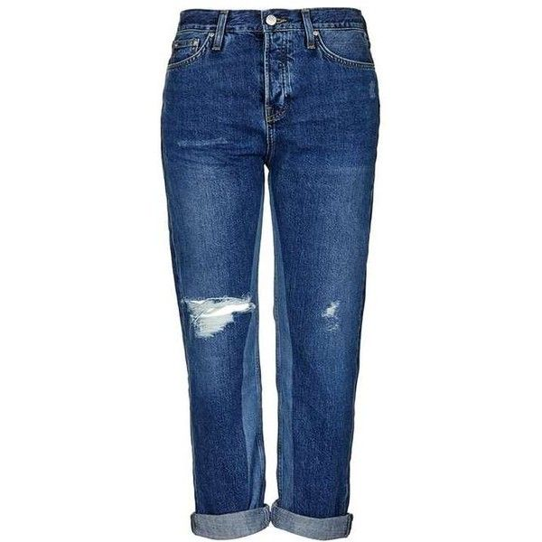 TopShop Moto Laser Detail Boyfriend Jeans (860 ARS) ❤ liked on Polyvore featuring jeans, destructed boyfriend jeans, button fly jeans, boyfriend jeans, boyfriend fit jeans and distressed denim jeans