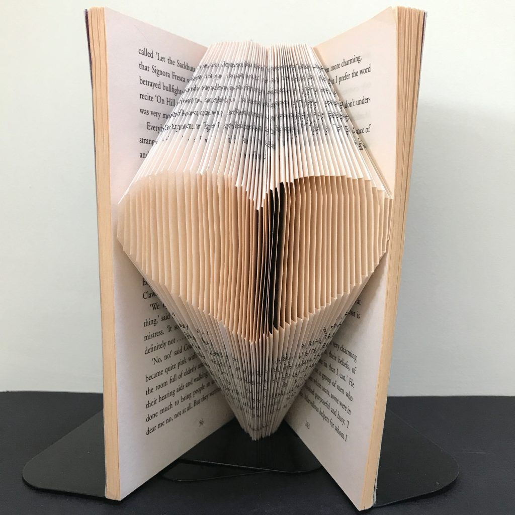 Folded book art 2 initials /& 3 love hearts valentine wedding anniversary gift