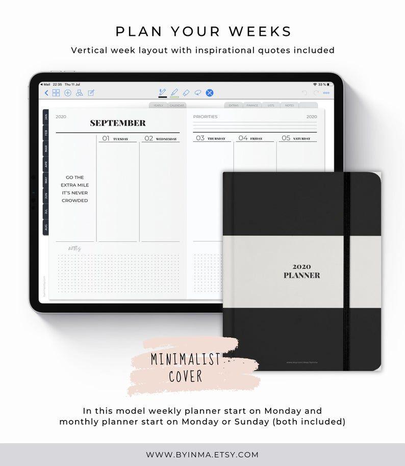 Digital Planner 2020, Ipad planner, Minimalist Goodnotes