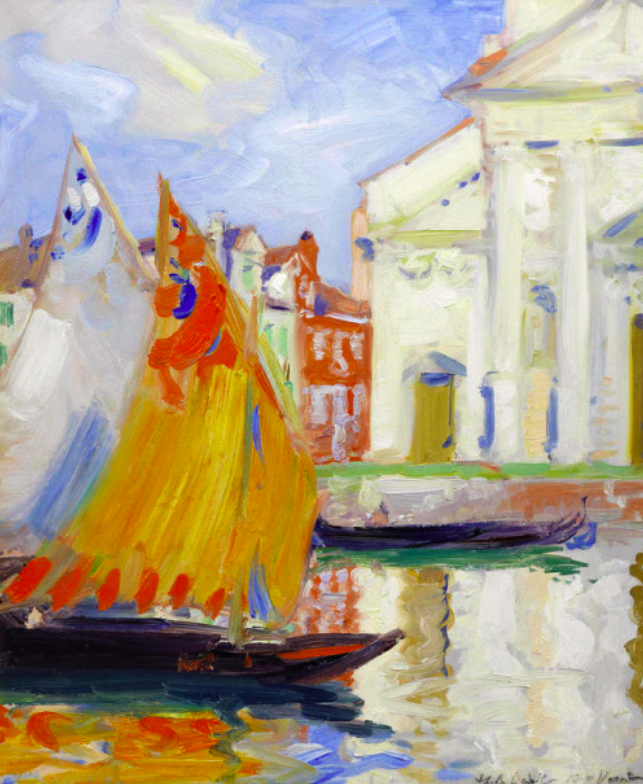 Francis Campbell Boileau Cadell (Scottish, 1883-1937), Venice. Oil on board, 18 1/16 x 15 in.