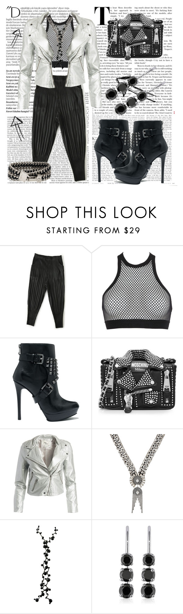 """""""Rock Style"""" by silviaswan ❤ liked on Polyvore featuring Balmain, Dsquared2, MICHAEL Michael Kors, Moschino, Sans Souci, DANNIJO, Belk & Co. and Henri Bendel"""