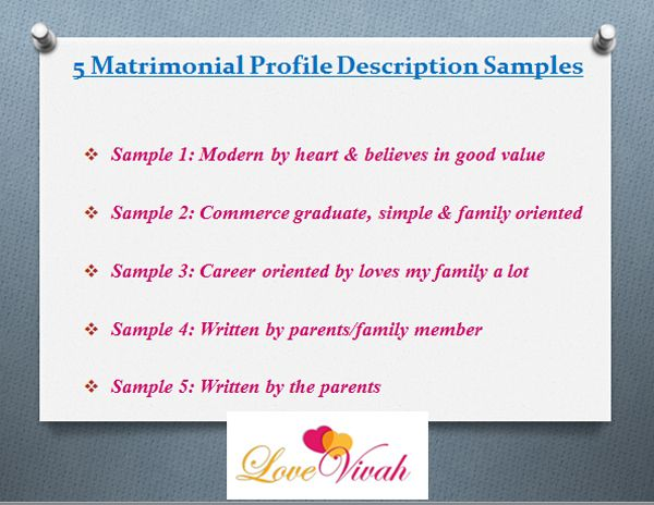 Profile description for matrimony example
