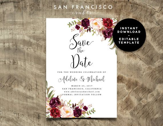 Save the Date Card INSTANT DOWNLOAD Editable Template Invitation - download invitation card