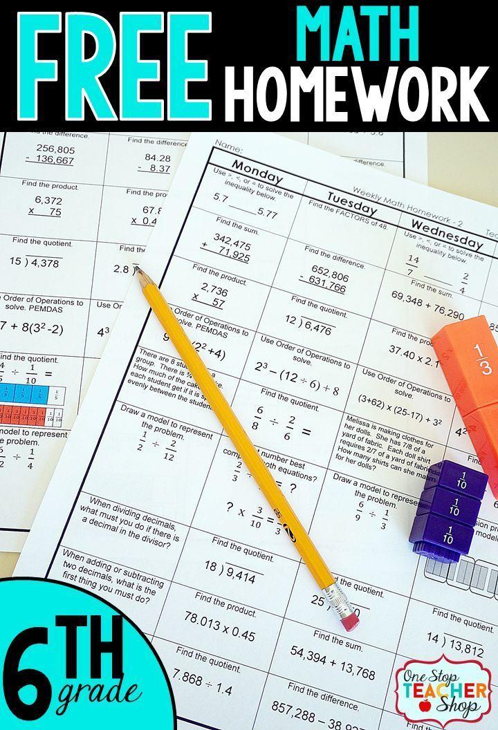 Free Math Homework for 6th grade. This 6th grade math homework is ...