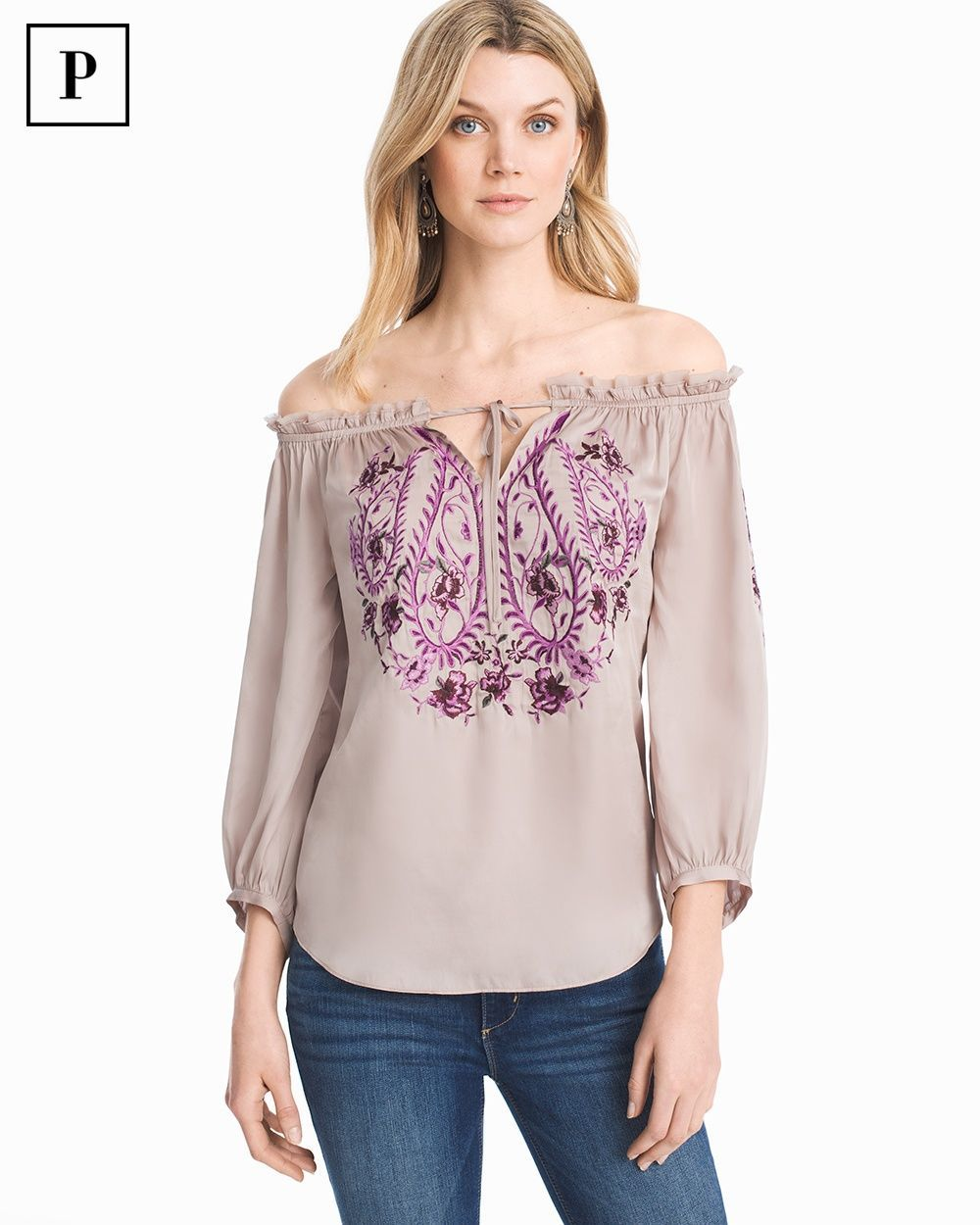 6d6b0ba4 Women's Petite Off-the-Shoulder Embroidered Top by White House Black Market