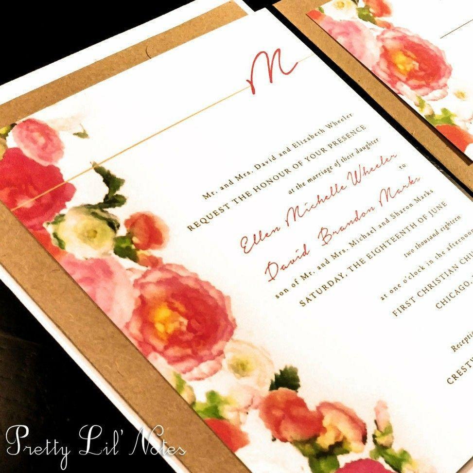 Watercolor rose flower monogram custom unique wedding invitation