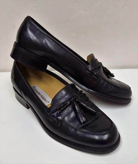 Vintage Etienne Aigner Leather Hamilton Shoes Classic Black Etsy Leather Aigner Brown Flats