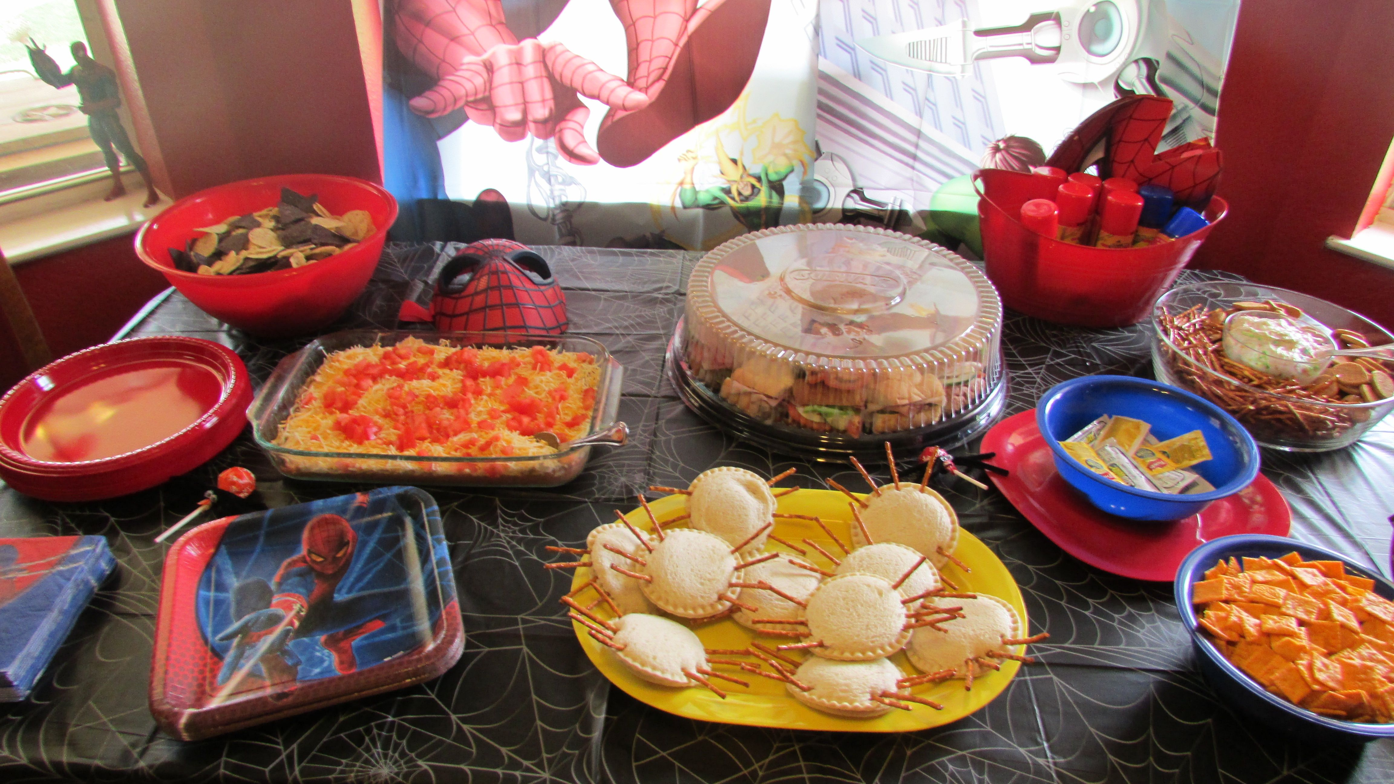 Party Food for spider man party Spider sandwhiches made with