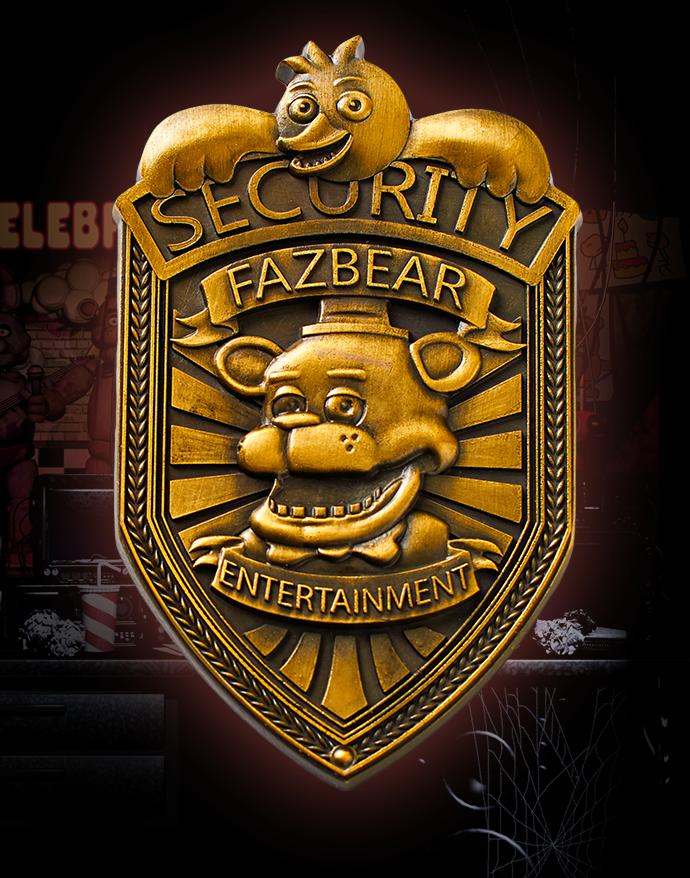"FNAF Five Nights at Freddy/'s Fazbear Security Badge Pin Silver Gifts 2/"""