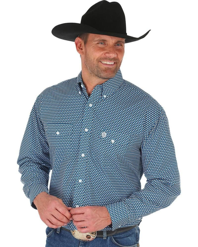 d4e572d9 George Strait by Wrangler Men's Geo Print Long Sleeve Western Shirt -  MGSB523 #fashion #clothing #shoes #accessories #mensclothing #shirts (ebay  link)