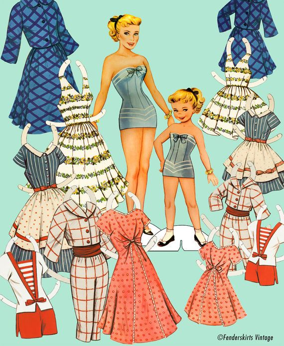 photo about Printable Vintage Paper Dolls named Traditional Retro 1950s Mom Daughter Paper Dolls Immediate