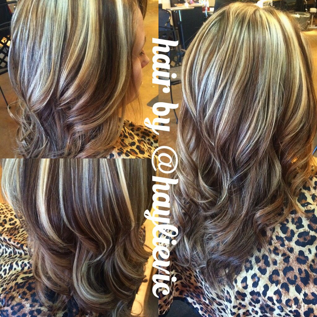 chunky blonde highlights, brown all over. added depth and ...