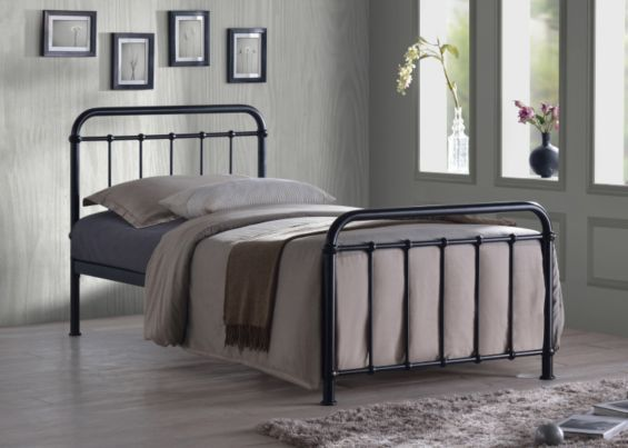 Miami Black Traditional Hospital Style 3ft Single Metal Bed Frame From Our Beds Range Tesco