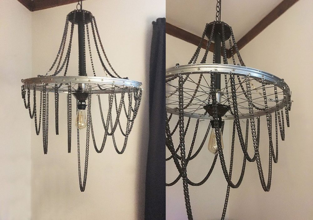 Turn a bicycle wheel into a chic industrial chandelier industrial turn a bicycle wheel into a chic industrial chandelier mozeypictures Image collections