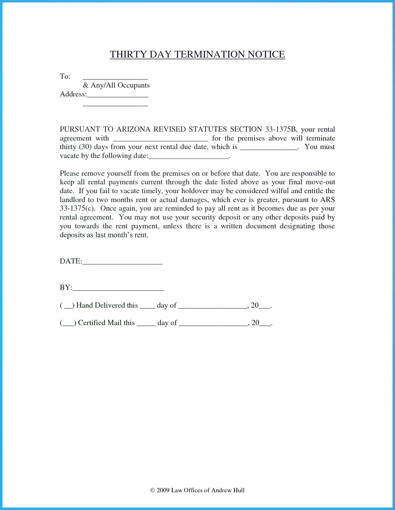 30 Day Termination Notice Being A Landlord Letter Templates