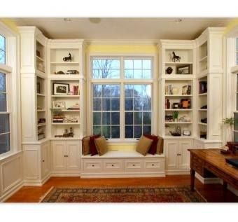 Family room / office area: window seat and corner bookshelves ...