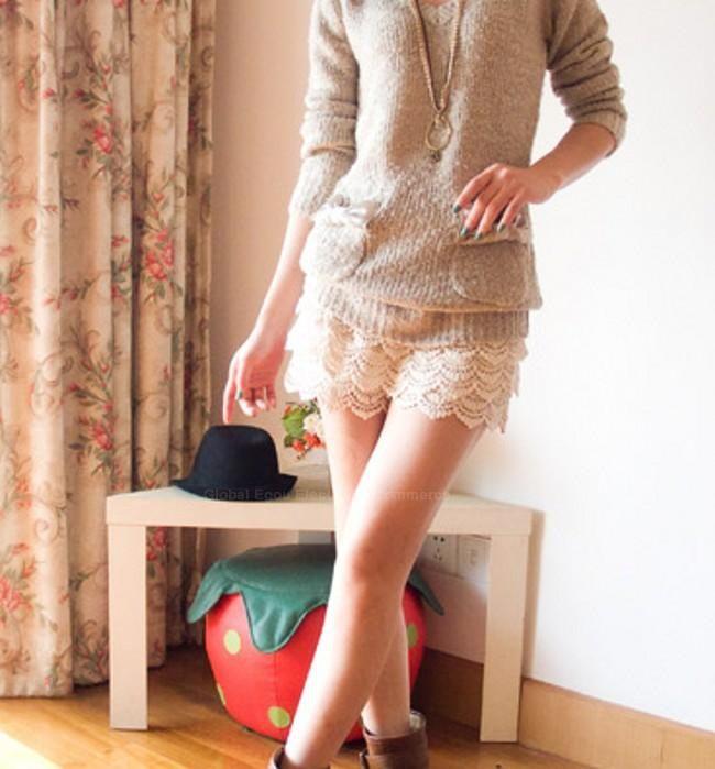 Sweet Layered Hook Lace Elastic Waist Culotte for Women (WHITE,ONE SIZE) China Wholesale - Sammydress.com