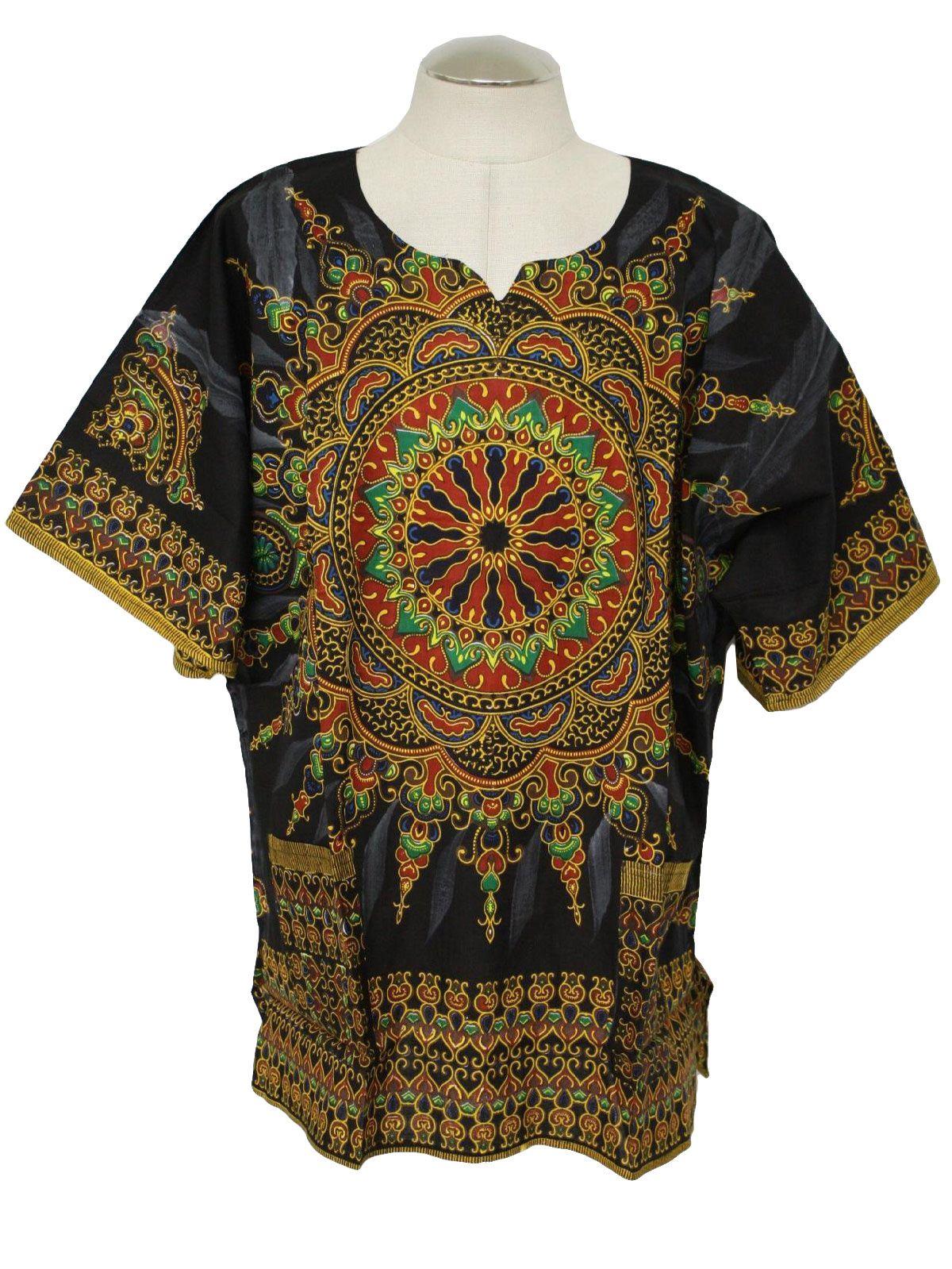 70s oversized dashiki shirt BJklU