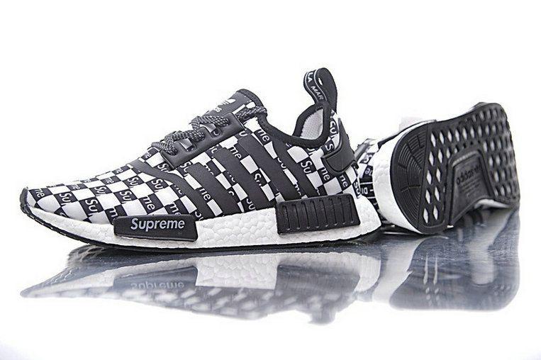 bb2895b7e6b09 2018 Real Supreme x Adidas Originals NMD R1 Boost Mesh Black White BA7745