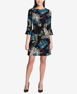 5af9855a2 Tommy Hilfiger Printed Bell-Sleeve Dress - Black 18