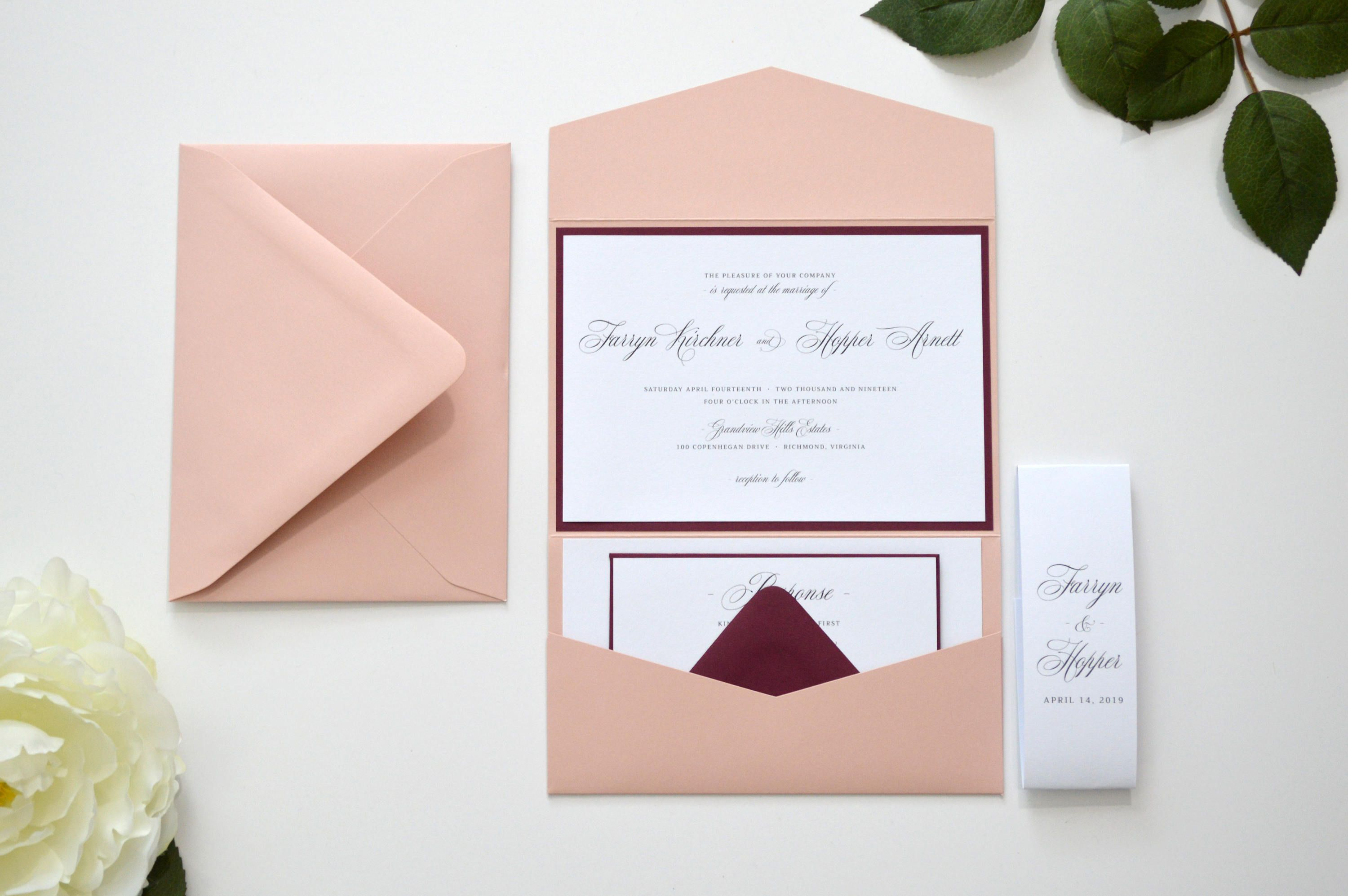 Blush Wedding Invitation Burgundy Wedding Invitation Blush And