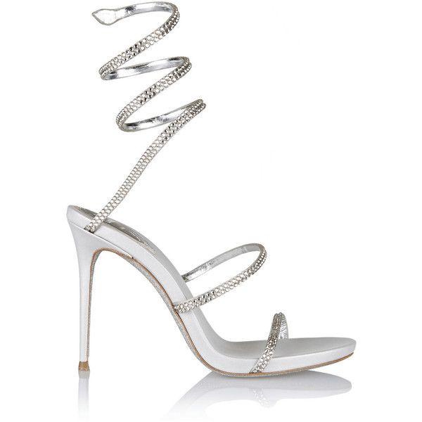 0864304570984c René Caovilla Crystal-embellished satin sandals (£645) ❤ liked on Polyvore