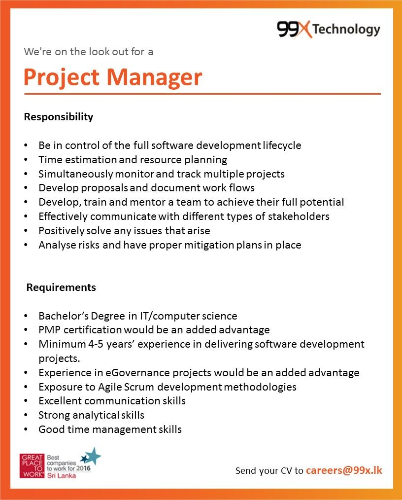 Technical Project Manager At 99x Technology Career First Technology Careers Project Management Management