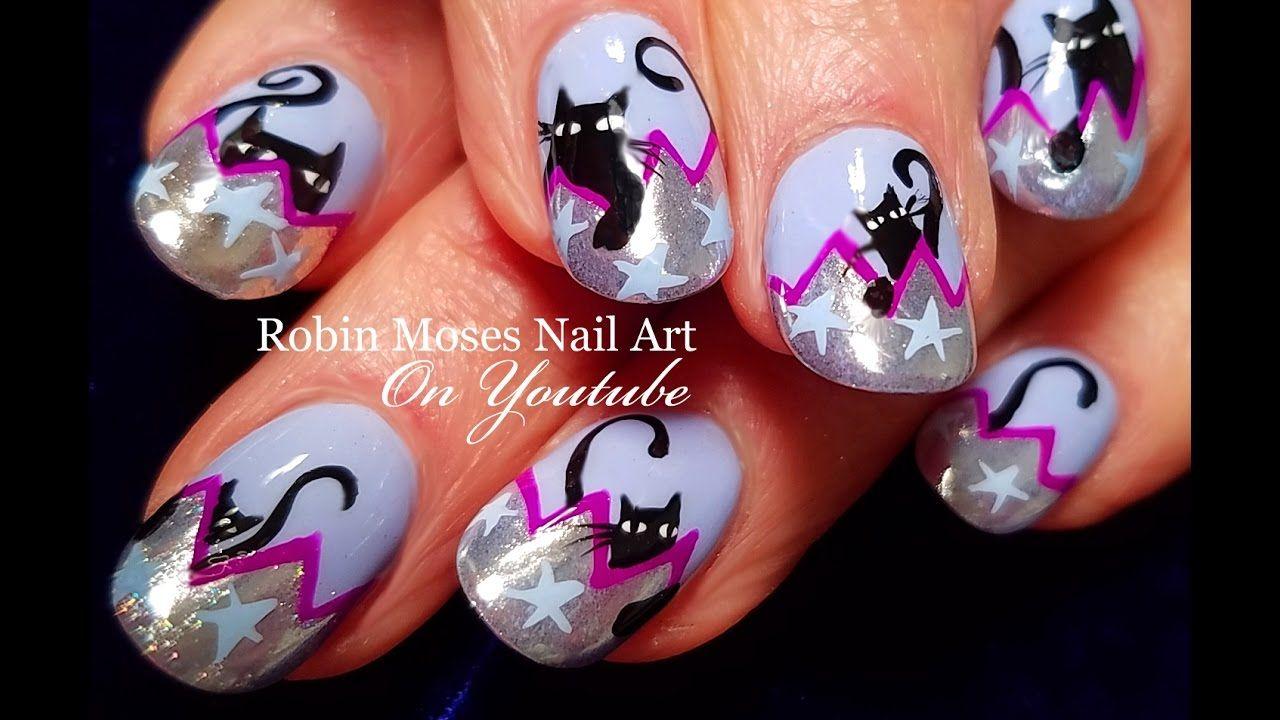 Halloween Nails Diy Chrome Tips With Black Cats Nail Art Design