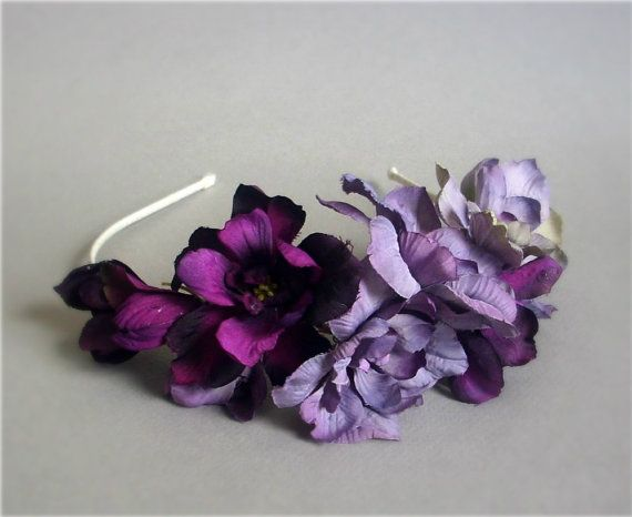 Violet delphinium headband fascinator lavender and purple silk violet delphinium headband fascinator lavender and purple silk flowers and ivory satin mightylinksfo