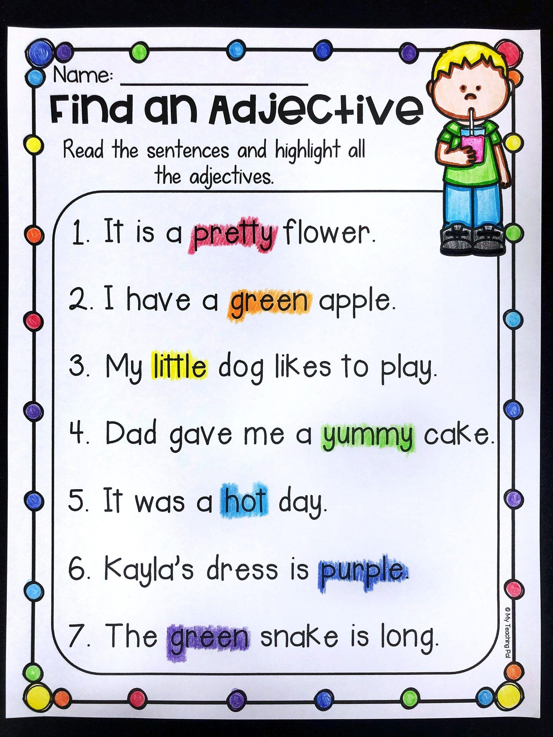 Noun Verb Adjective Worksheet Grammar Worksheet Packet