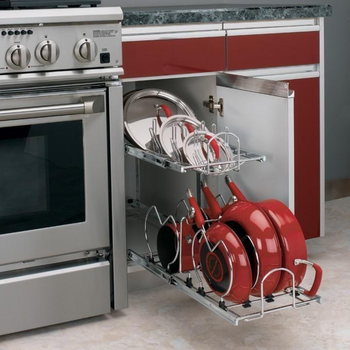 12 In Cookware Organizer Two Tier Chrome Pan Organization Rev