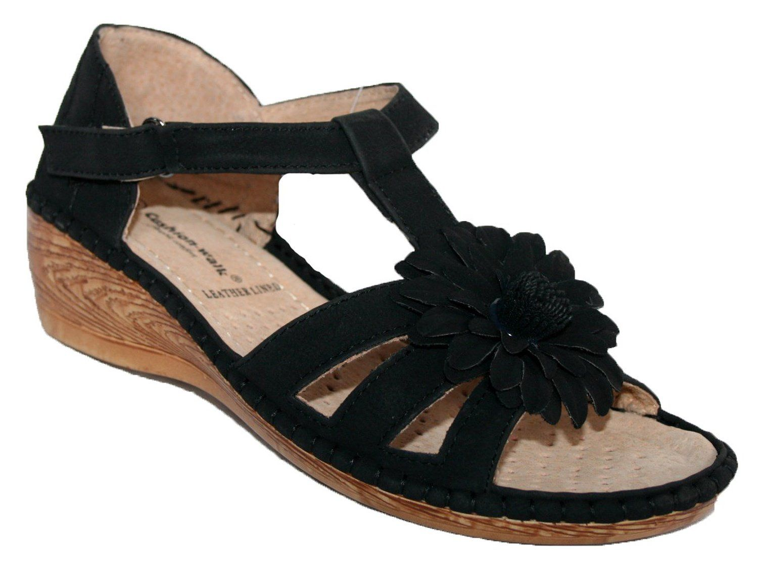 0e3963ef2ba0 LADIES WEDGE HEEL SUMMER SANDAL WITH FLOWER BOW TRIM  Amazon.co.uk  Shoes    Bags
