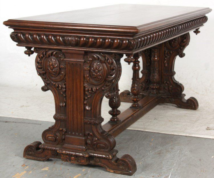 c1900 Renaissance library table, lbl-Karpen Furniture, Chicago, wal, 61l, - C1900 Renaissance Library Table, Lbl-Karpen Furniture, Chicago, Wal